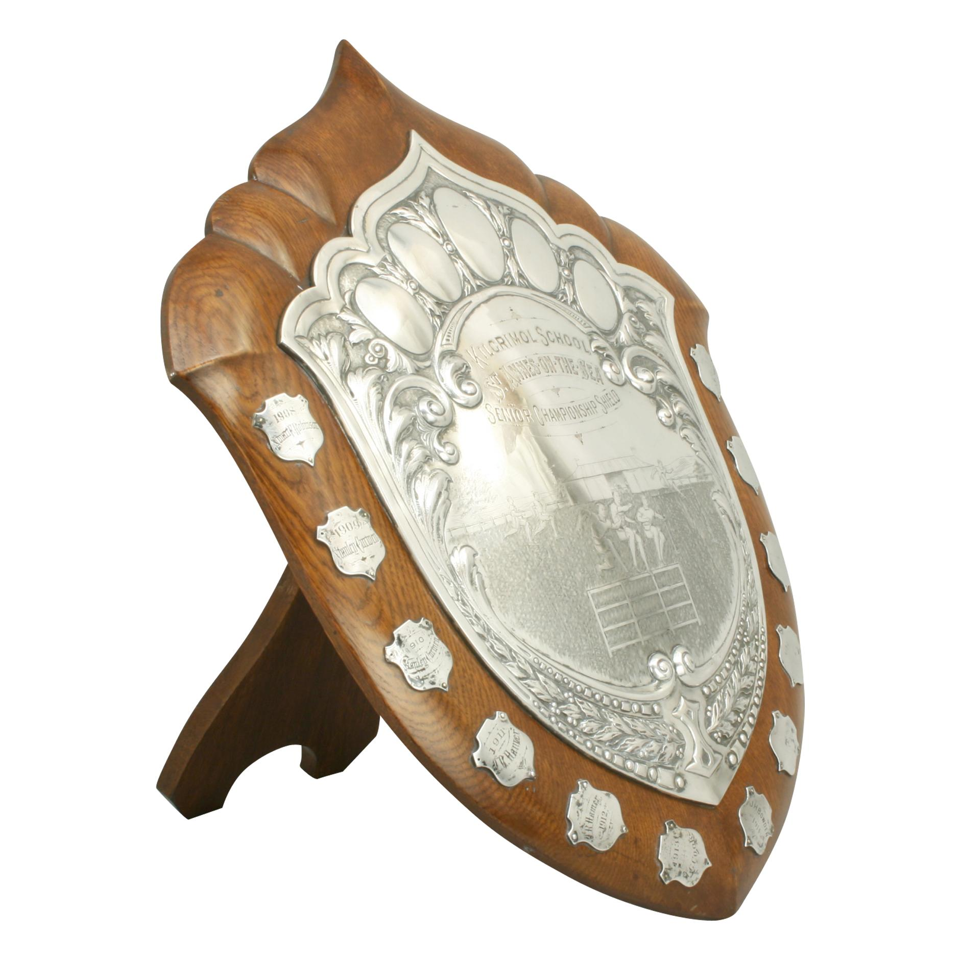 Antique Athletic Presentation Shield Trophy, Walker and Hall