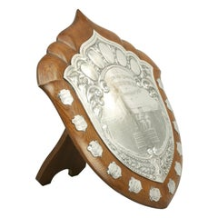 Antique Athletic Presentation Shield Trophy, Walker and Hall