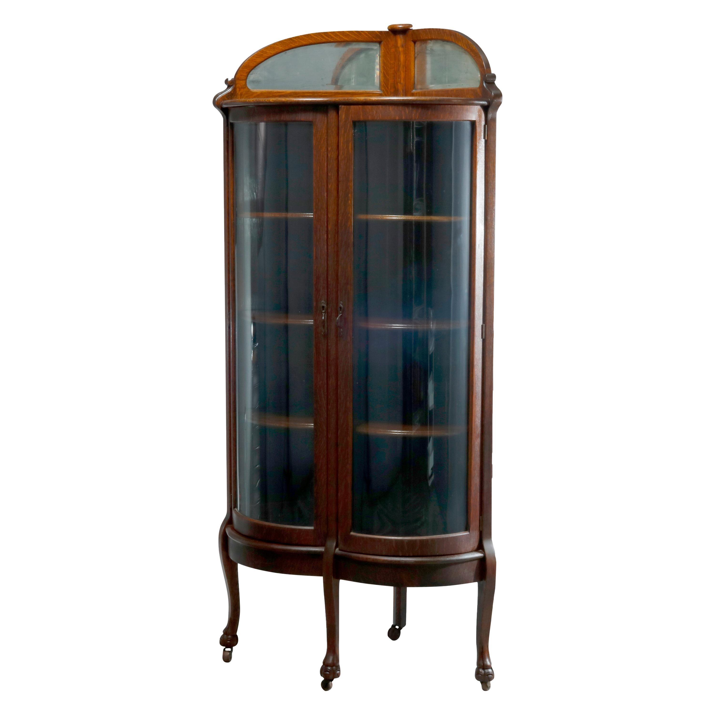 Antique Attr. RJ Horner Oak Curved Glass Door Corner Display Cabinet, c1910