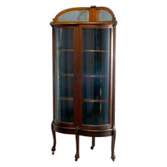 Antique Attr. RJ Horner Oak Curved Glass Door Corner Display Cabinet, c1910