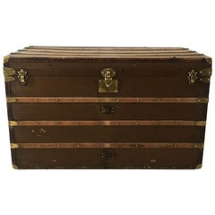 Antique Au Départ Steamer Trunk, France, 1910s