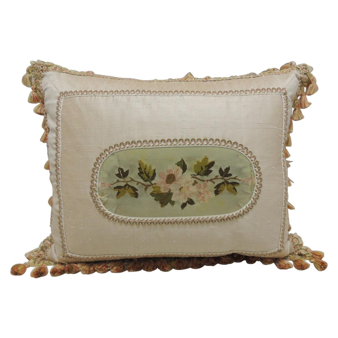 Antique Aubusson Center Tapestry Decorative Pillow