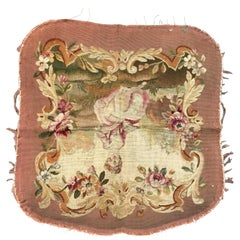 Antique Aubusson Cushion Chair Cover Tapestry
