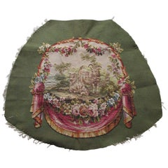 Antique Aubusson Oval Tapestry in Green and Taupe with Center Medallion