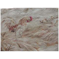 Antique Aubusson Tapestry Fragment Depicting Rooster and Hen