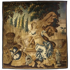 Antique Aubusson Tapestry from the Late 1600s, Goddess Pax or Eirene
