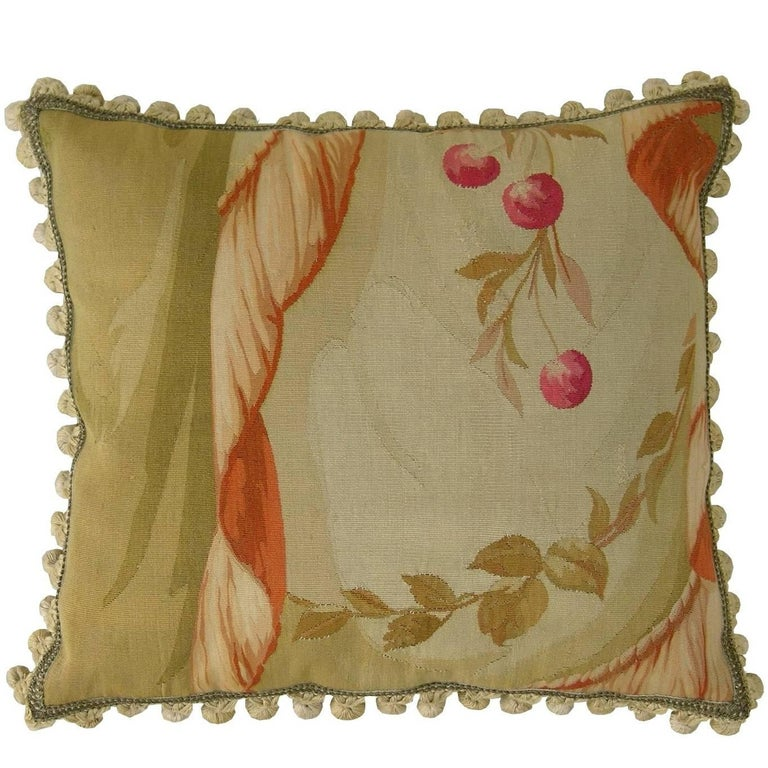 Antique Aubusson Tapestry Pillow, circa 1860 For Sale