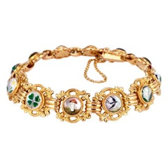 Antique Austrian 14 Karat Yellow Gold Essex Crystal Bracelet