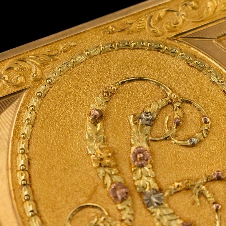 Antique Austrian 18 Karat Four-Color Gold Snuff Box, Felix Paul, circa 1810 For Sale 4