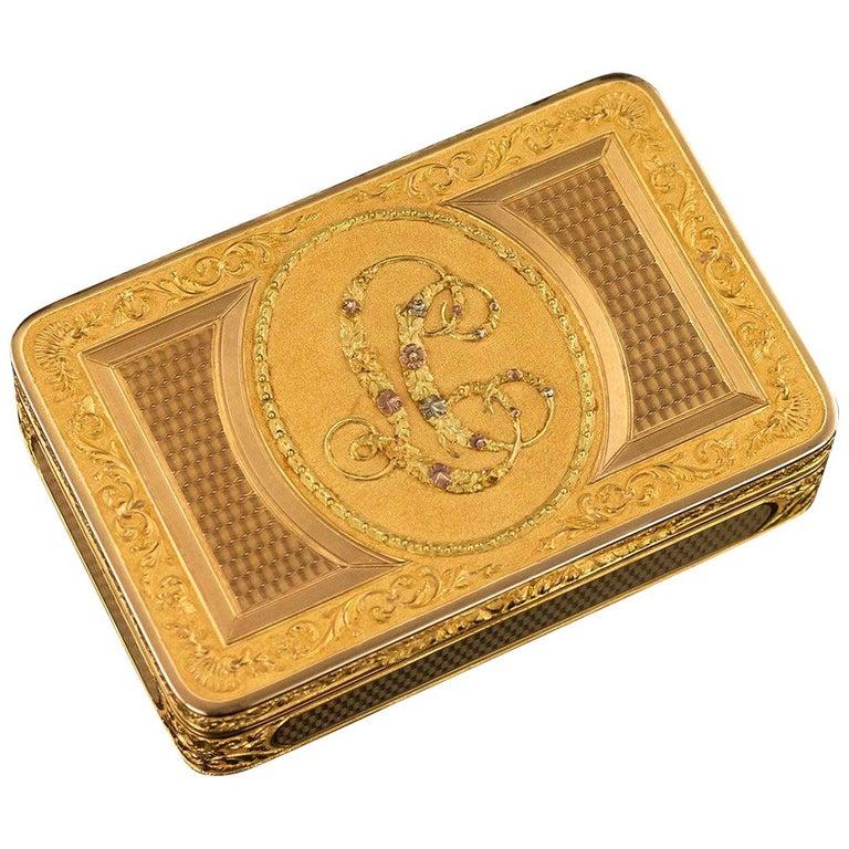 Antique Austrian 18 Karat Four-Color Gold Snuff Box, Felix Paul, circa 1810 For Sale