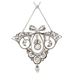 Antique Austrian 1920s 1.65 Carat Diamond Gold Pendant