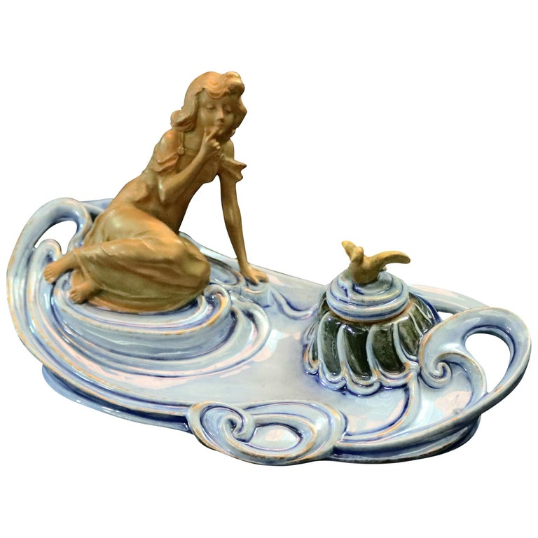 Antique Austrian Art Nouveau Figural Amphora Pottery Woman and Bird Inkwell For Sale