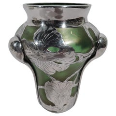 Antique Austrian Art Nouveau Iridescent Glass Silver Overlay Vase