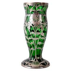 Antique Austrian Art Nouveau Loetz Silver Overlay Glass Vase, circa 1900