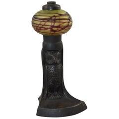 Antique Austrian Arts & Crafts Art Glass and Bronze Owl Oil Lamp #4503