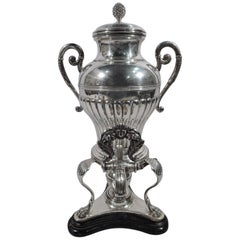 Antique Austrian Biedermeier Classical Silver Tea Urn