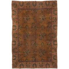 Antique Austrian Carpet, Brown Gold Field, Floral Design