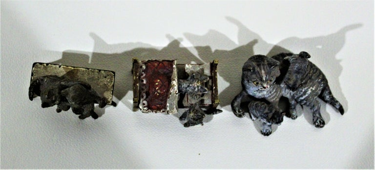 Antique Austrian Cast and Cold Painted Bronze Miniatures Cat Figurine Whimsy Lot In Good Condition For Sale In Hamilton, Ontario