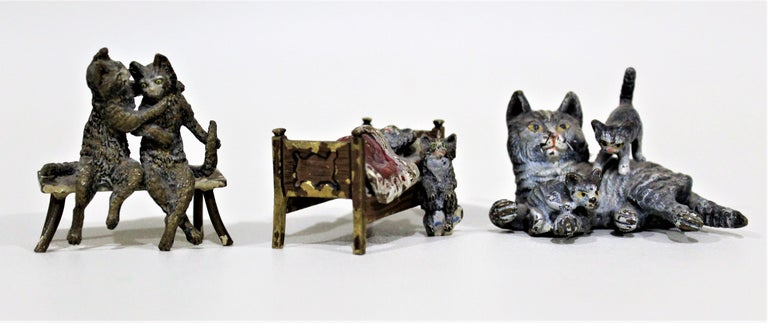 Antique Austrian Cast and Cold Painted Bronze Miniatures Cat Figurine Whimsy Lot For Sale 1