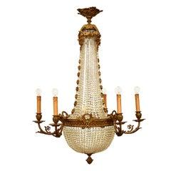 Antique Austrian Chandelier ceiling Candelabra Empire Style Brass Crystal , 1880