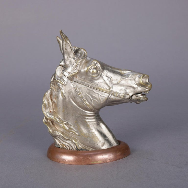 Cold-Painted Antique Austrian Equestrian Bergman Cold Painted Bronze Horse Head Inkwell For Sale