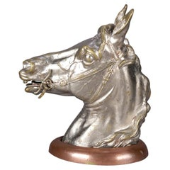 Antique Austrian Equestrian Bergman Cold Painted Bronze Horse Head Inkwell