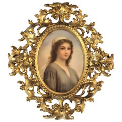 Antique Austrian Hand Painted Porcelain Portrait of 'Ruth' in Ornate Wood Frame