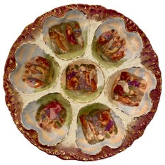 Austrian Hand Painted Victoria Carlsbad Porcelain Oyster Plate, circa 1890