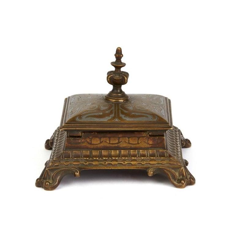 Antique Austrian Inlaid Bronze Stamp Holder Marked M.F In Good Condition For Sale In Bishop's Stortford, Hertfordshire