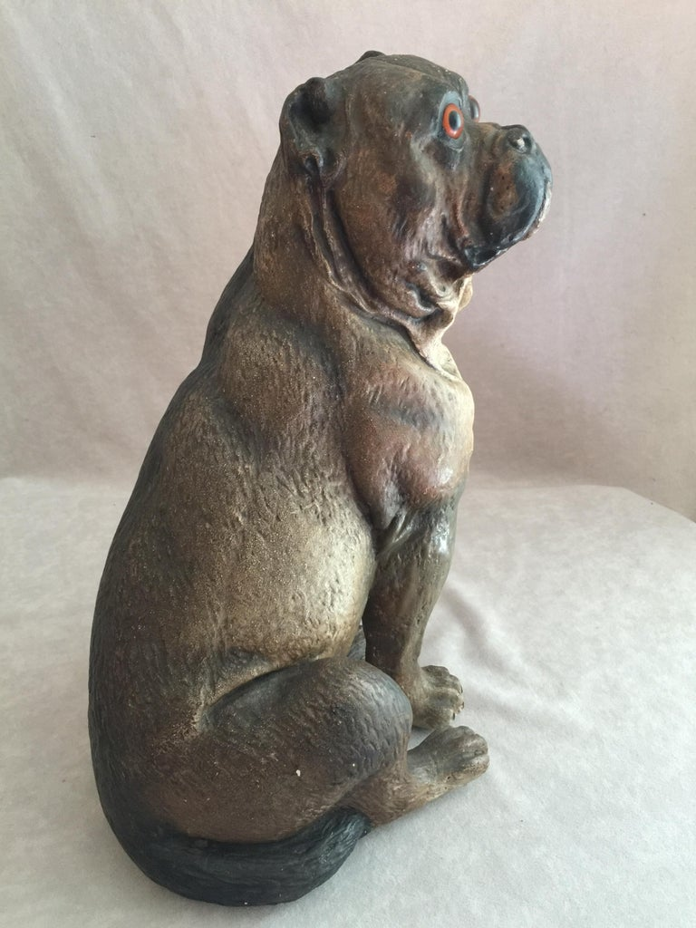 We find that some of the best examples of sculpted dogs can be found to be made of terracotta. This pug has the look of a real dog. The glass eyes, the beautifully accurately painted body, and the size, brings this sculpture to life. We are always