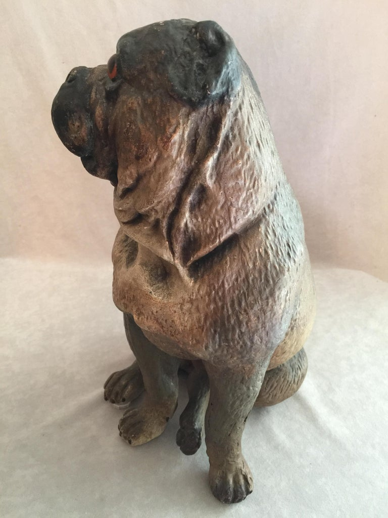 Other Antique Austrian Terracotta Pug Dog w/ Glass Eyes For Sale