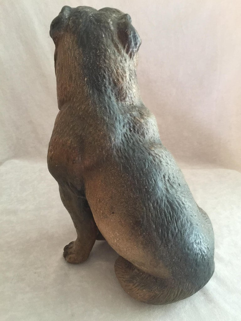Hand-Crafted Antique Austrian Terracotta Pug Dog w/ Glass Eyes For Sale