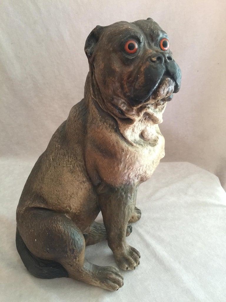 19th Century Antique Austrian Terracotta Pug Dog w/ Glass Eyes For Sale