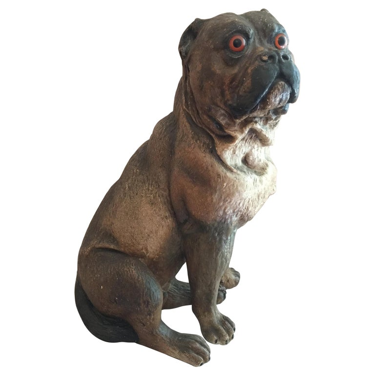 Antique Austrian Terracotta Pug Dog w/ Glass Eyes For Sale
