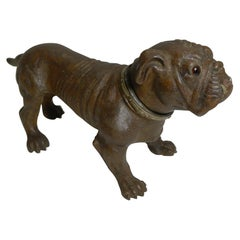 Antique Austrian Painted Metal Table Lighter, Figural, Dog, Bulldog, circa 1910