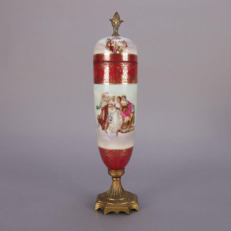 Classical Greek Antique Austrian Royal Vienna Classical Hand Painted and Gilt Porcelain Urn For Sale