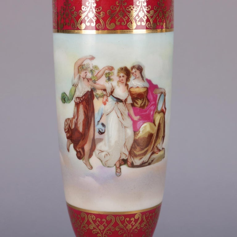 French Antique Austrian Royal Vienna Classical Hand Painted and Gilt Porcelain Urn