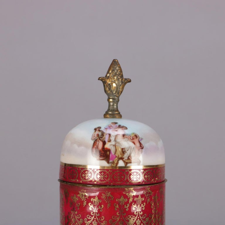 Antique Austrian Royal Vienna Classical Hand Painted and Gilt Porcelain Urn In Good Condition For Sale In Big Flats, NY