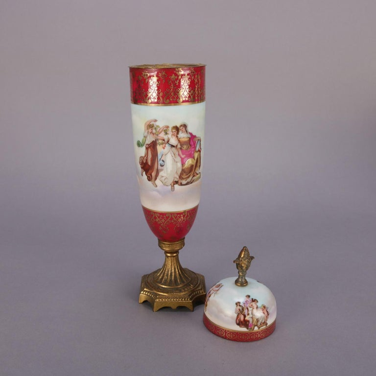 19th Century Antique Austrian Royal Vienna Classical Hand Painted and Gilt Porcelain Urn For Sale
