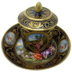 Antique Austrian Royal Vienna Sevres Style Chocolate Tea Cup Saucer Cobalt Blue
