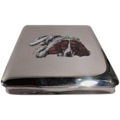 Antique Austrian Silver and Enamel Floppy-Eared Spaniel Dog Case