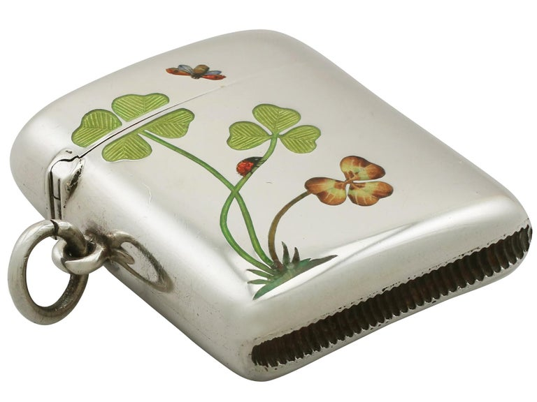 Antique Austrian Silver and Enamel Vesta Case In Excellent Condition In Jesmond, Newcastle Upon Tyne