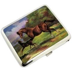 Antique Austrian Silver & Enamel Cigarette Case c. 1900 Horses Equestrian