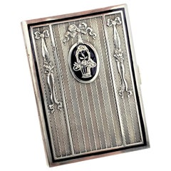 Antique Austrian Silver & Enamel Cigarette Case with Floral & Ribbon Decoration