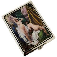 Antique Austrian Silver & Enamel Erotic Cigarette Case, circa 1900