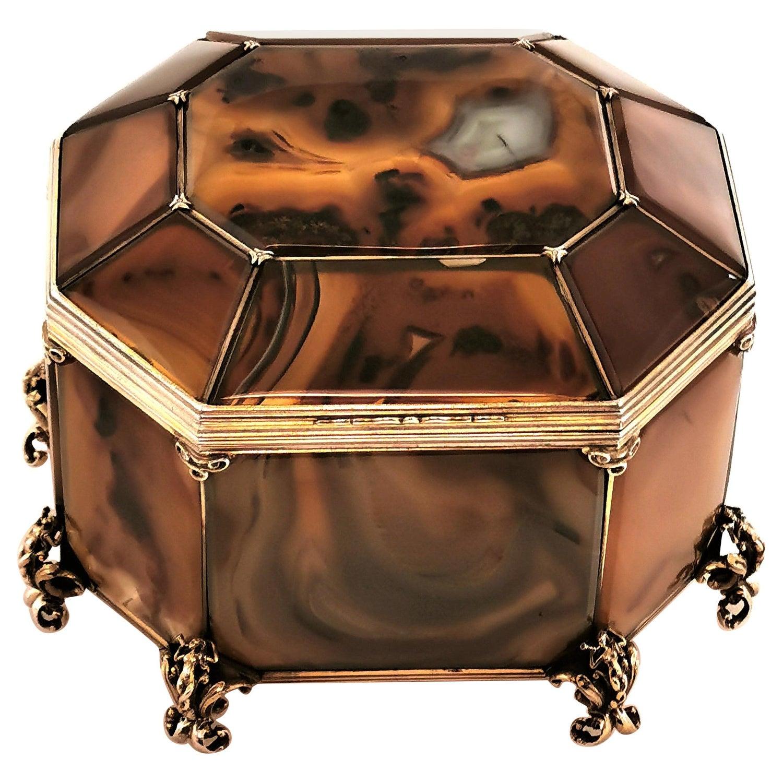 Antique Austrian Silver Gilt & Moss Agate Box / Casket, circa 1880