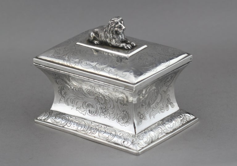 Antique Austrian Silver Sugar Box, Austria, 1844 In Good Condition For Sale In Braintree, GB