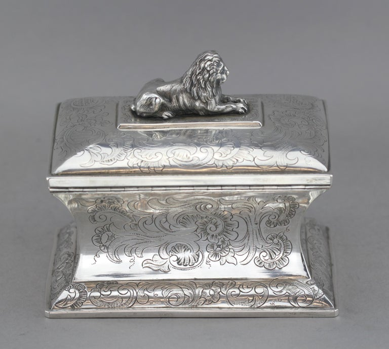 Mid-19th Century Antique Austrian Silver Sugar Box, Austria, 1844 For Sale