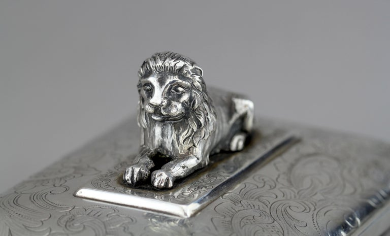 Antique Austrian Silver Sugar Box, Austria, 1844 For Sale 5