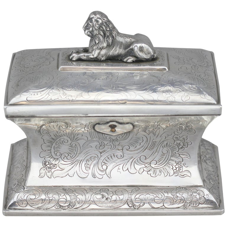 Antique Austrian Silver Sugar Box, Austria, 1844 For Sale